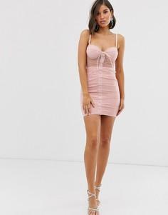 Розовое платье мини со шнуровкой Rare London-Розовый