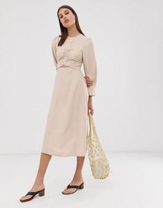 Платье миди с длинными рукавами ASOS WHITE-Мульти