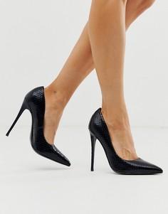 Черные туфли-лодочки на каблуке-шпильке со змеиным принтом ASOS DESIGN - Penelope-Черный