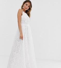 Кружевное свадебное платье макси ASOS EDITION Petite-Белый