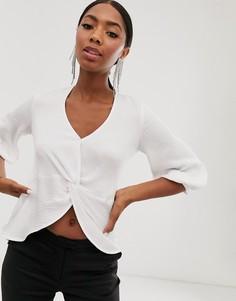 Белая укороченная блузка с узлом Closet London-Белый