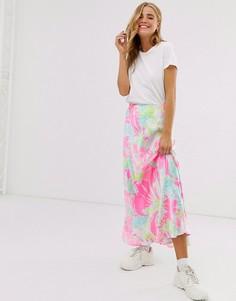 Атласная юбка с расклешенным подолом и ярким цветочным рисунком ASOS DESIGN-Мульти