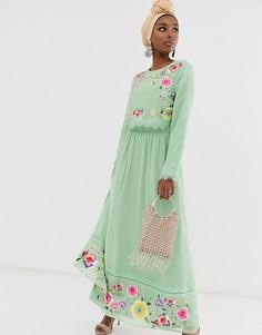 Двухслойное платье макси с вышивкой ASOS DESIGN-Зеленый