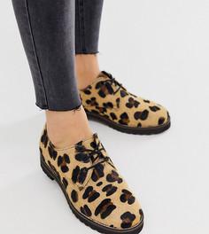 Кожаные туфли на плоской подошве для широкой стопы с леопардовым принтом ASOS DESIGN Virtual-Мульти