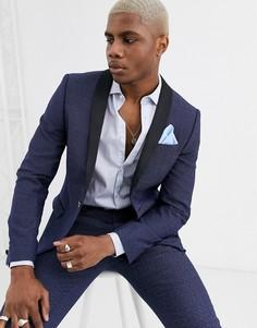 Синий супероблегающий пиджак-смокинг с вкраплениями Twisted Tailor