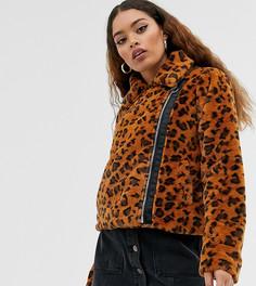 Байкерская куртка из искусственного меха с леопардовым принтом Brave Soul Petite - carla-Светло-коричневый