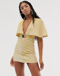 Золотистое платье мини с глубоким вырезом, ремнем и кейпом Rare-Золотой