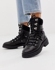 Черные кожаные походные ботинки ASOS DESIGN Artistry premium-Черный