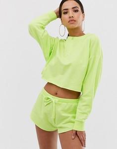 Комплект для дома из свитшота с длинными рукавами и шортами неоновой расцветки и с необработанными краями ASOS DESIGN-Зеленый