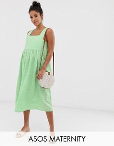 Свободный фактурный сарафан миди с квадратным вырезом ASOS DESIGN Maternity-Зеленый