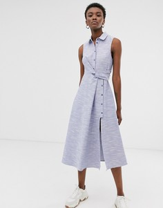 Платье-рубашка миди без рукавов из фактурного хлопка ASOS WHITE-Синий