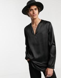 Черная атласная рубашка классического кроя ASOS DESIGN-Черный