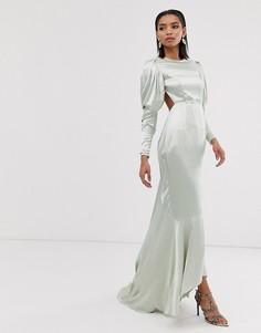 Атласное платье макси со шлейфом и пышными рукавами ASOS EDITION-Зеленый