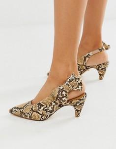 Туфли на каблуке-рюмочке со змеиным принтом и ремешком через пятку Office - Memo-Мульти