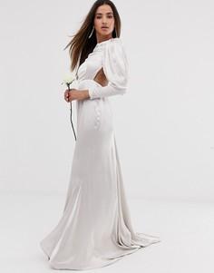 Атласное свадебное платье с юбкой годе и пышными рукавами ASOS EDITION-Белый