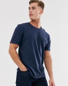 Свободная хлопковая футболка в рубчик Selected Homme-Темно-синий