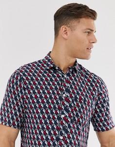 Рубашка из вискозы с короткими рукавами и принтом Selected Homme-Красный