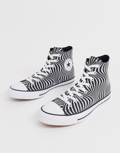 Кроссовки с психоделическим черно-белым принтом Converse Chuck Taylor-Белый