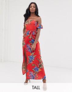 Платье макси с открытыми плечами и цветочным принтом Influence Tall-Красный