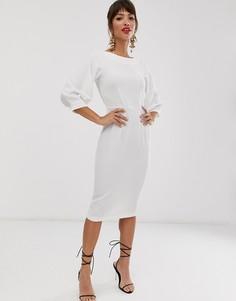 Платье-футляр цвета слоновой кости с рукавами 3/4 Closet London-Белый