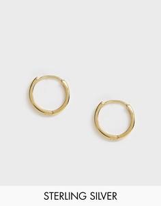 Серебряные массивные серьги-кольца с позолотой 14 карат ASOS DESIGN