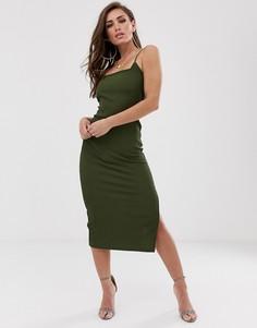 Облегающее платье миди в рубчик с глубоким вырезом на спине ASOS DESIGN-Зеленый