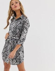 Платье-рубашка со змеиным принтом Parisian-Серый