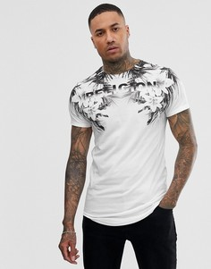 Белая футболка с асимметричным краем и цветочным принтом Religion-Белый