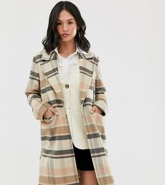 Удлиненное шерстяное пальто в клетку Wednesdays Girl-Коричневый