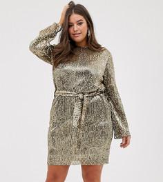 Платье мини с пайетками, плиссировкой и поясом Club L London Plus-Золотой