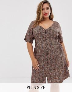 Платье с цветочным принтом и шнуровкой по бокам New Look Curve-Черный