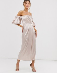 Атласное драпированное платье миди с открытыми плечами ASOS EDITION-Кремовый