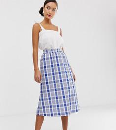 Сине-белая юбка миди в клетку Monki farm-Мульти
