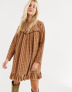 Свободное платье мини в клеточку с оборками ASOS DESIGN-Мульти