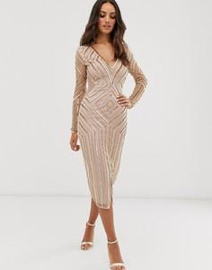 Платье миди с длинными рукавами Frock & Frill-Золотой