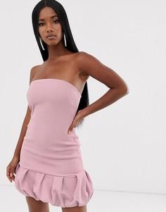 Фактурное платье мини бандо с объемным подолом ASOS DESIGN-Фиолетовый