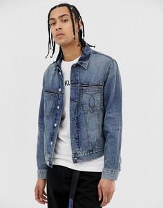 Выбеленная синяя узкая джинсовая куртка Calvin Klein Jeans omega-Синий