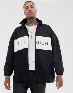 Черная oversize-куртка с воротником-трубой Religion-Черный