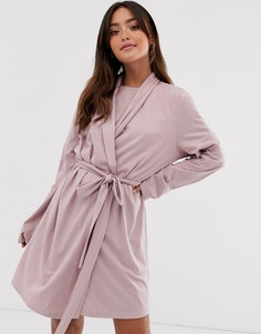 Комбинируемый трикотажный халат ASOS DESIGN-Розовый