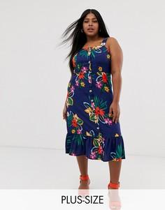 Платье миди на пуговицах с тропическим цветочным принтом Influence Plus-Синий