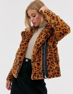 Байкерская куртка из искусственного меха с леопардовым рисунком Brave Soul carla-Светло-коричневый