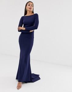 Платье макси с открытой спиной Club L London-Темно-синий