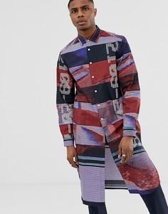 Длинная рубашка с надписью ASOS DESIGN-Темно-синий