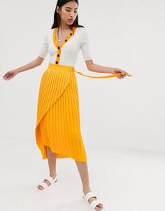 Плиссированная юбка миди с запахом Selected Femme-Желтый