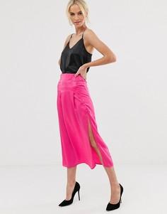 Расклешенная юбка с пуговицами Unique21-Розовый