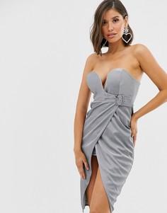 Серебристое платье миди с запахом и пряжкой Rare-Серебряный