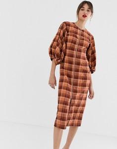 Оранжевое платье миди в клетку с молнией ASOS WHITE-Оранжевый