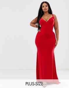 Красное платье макси с годе Club L London Plus-Красный
