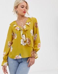 Блузка с оборками Love-Желтый