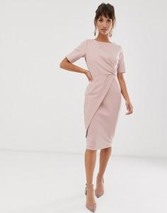 Сиреневое платье-футляр с запахом и асимметричной юбкой Closet London-Фиолетовый